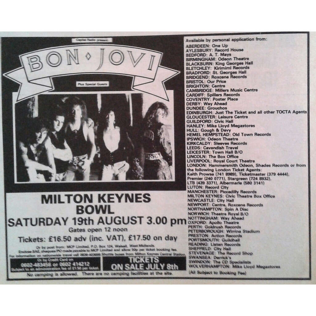 Bon Jovi Milton Keynes Bowl 19.08.1989 (UK 1989 promo type advert concert poster flyer!)