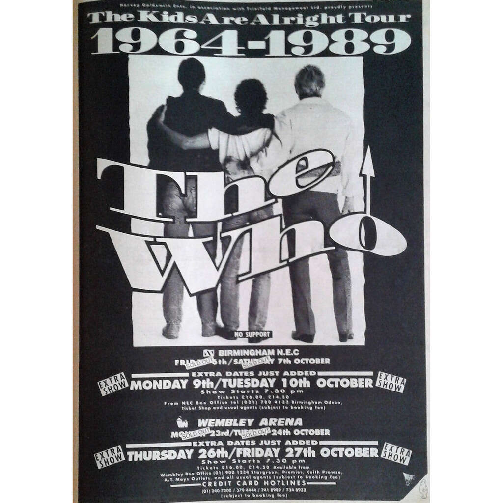 The Who UK Tour Oct. 1989 (UK 1989 promo type advert 'Tour dates' concert poster flyer!)