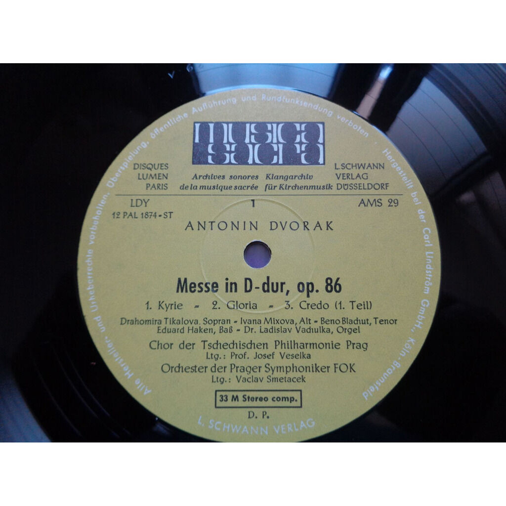 Dvorák / Orchester der Prager Symphoniker FOK Messe D-dur op.86 - vaclav smetacek - ( stéréo mint condition )