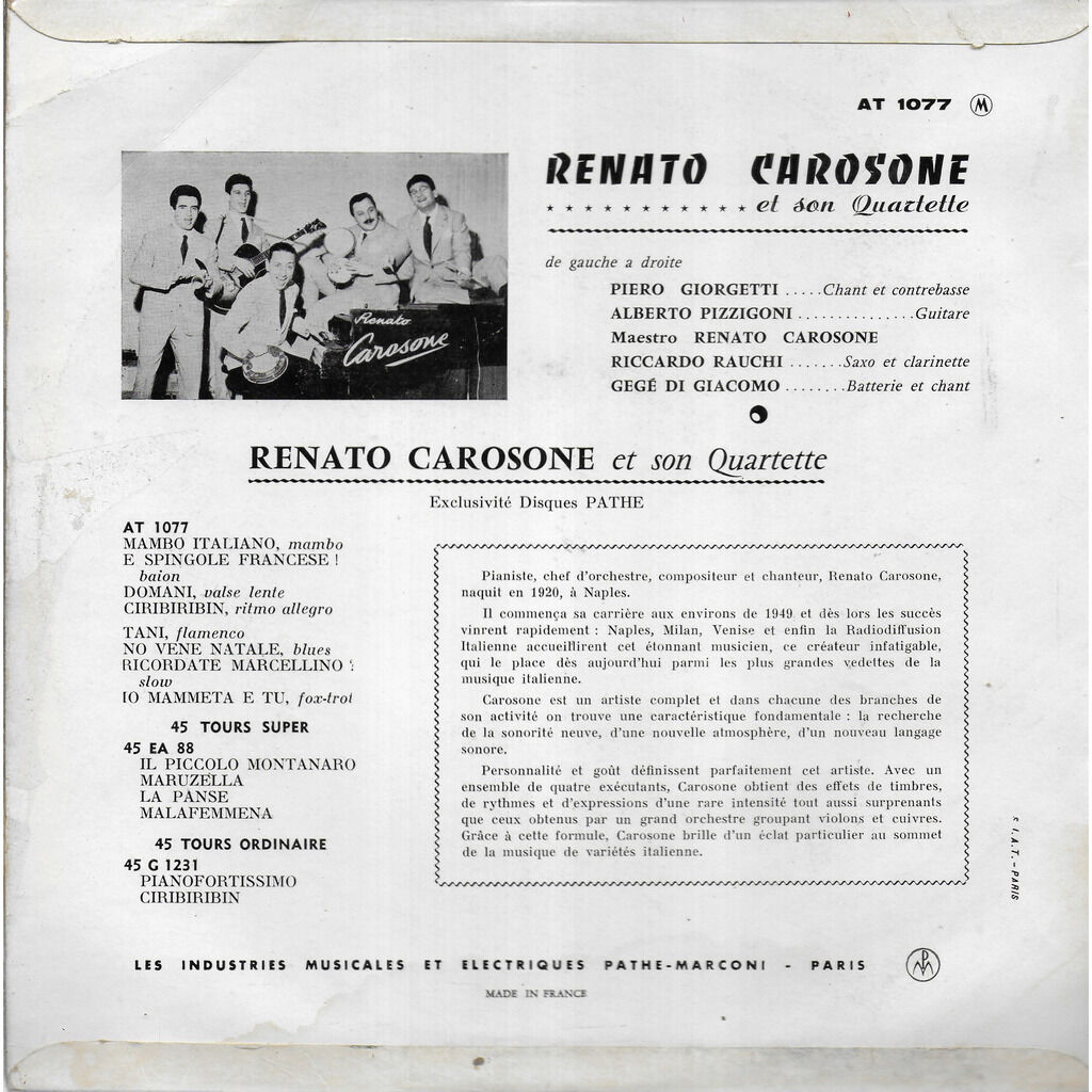 Renato CAROSONE e il suo quartetto (1920-2001) Carosello Carosone (3)