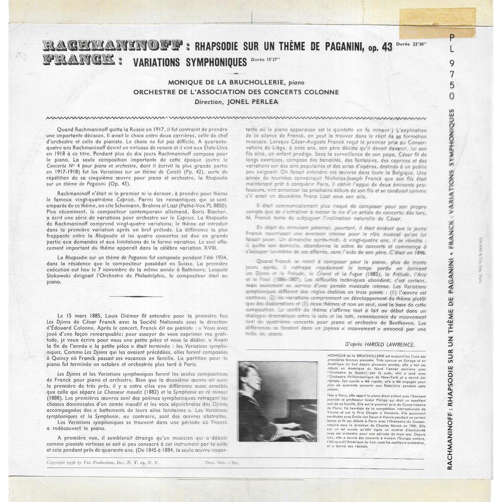 Monique DE LA BRUCHOLLERIE piano (1915-1972) Rachmaninoff : Rhapsodie sur un thème de Paganini / Franck : Variations symphoniques