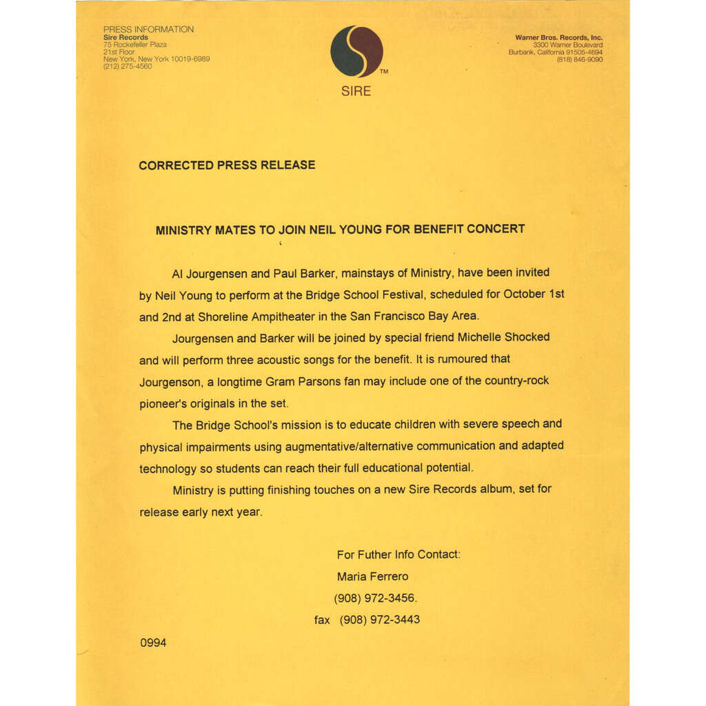 Ministry w/ Neil Young 1994 Press Release