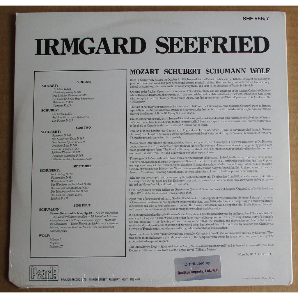 IRMGARD SEEFRIED Mozart Schubert Schumann Wolf KLEIN WERBA PEARL 2LP SHE 556/7 NEW SEALED
