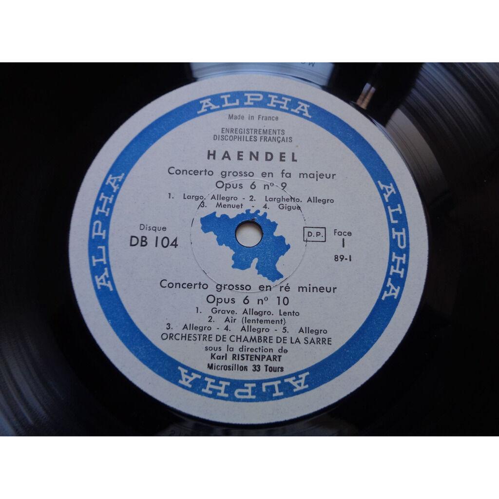 Karl Ristenpart - orchestre chambre de la sarre Haendel : Les Concerti Grossi Opus 6 N° 3, 5, 6 & 12