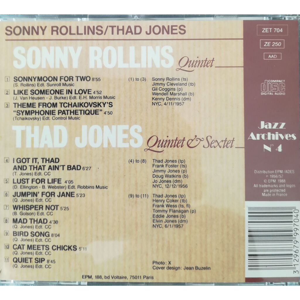 Sonny Rollins / Thad Jones Jazz archives N° 4