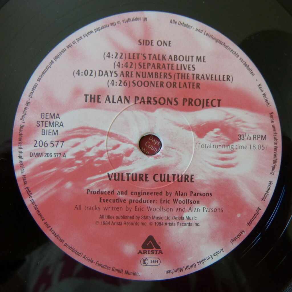 THE ALAN PARSONS PROJECT VULTURE CULTURE