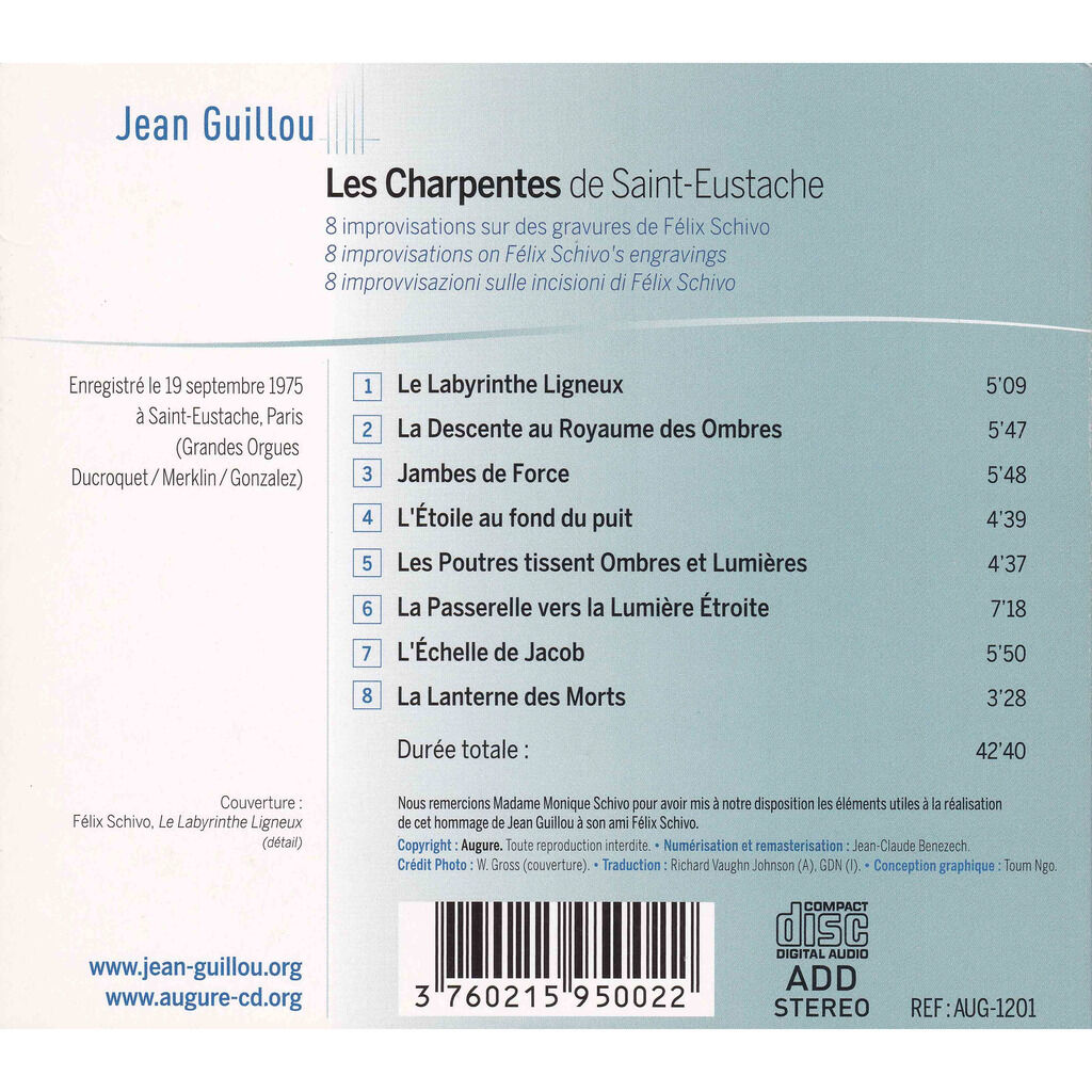 jean guillou Les Charpentes de Saint-Eustache - 8 Improvisations
