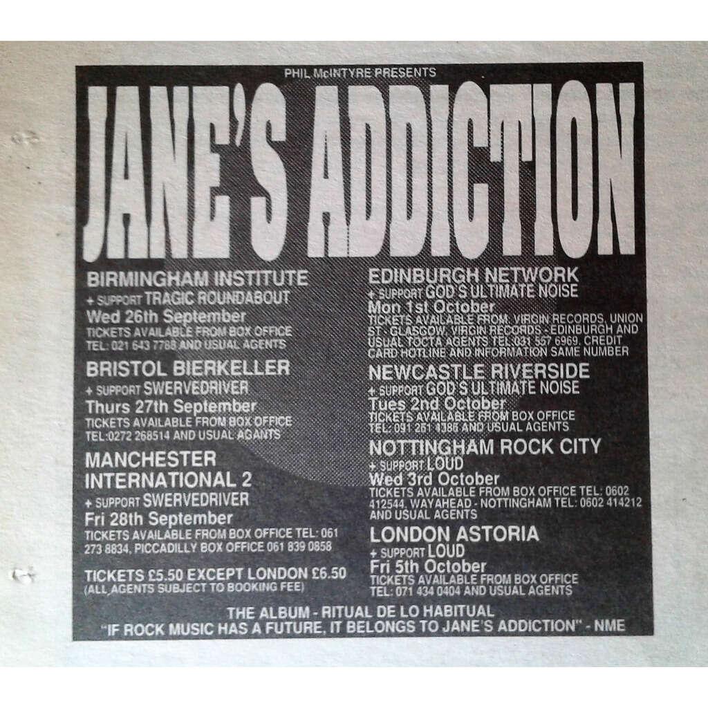 Jane's Addiction UK Tour Sept. / Oct. 1990 (UK 1990 promo type advert 'Tour Release' concert flyer!)