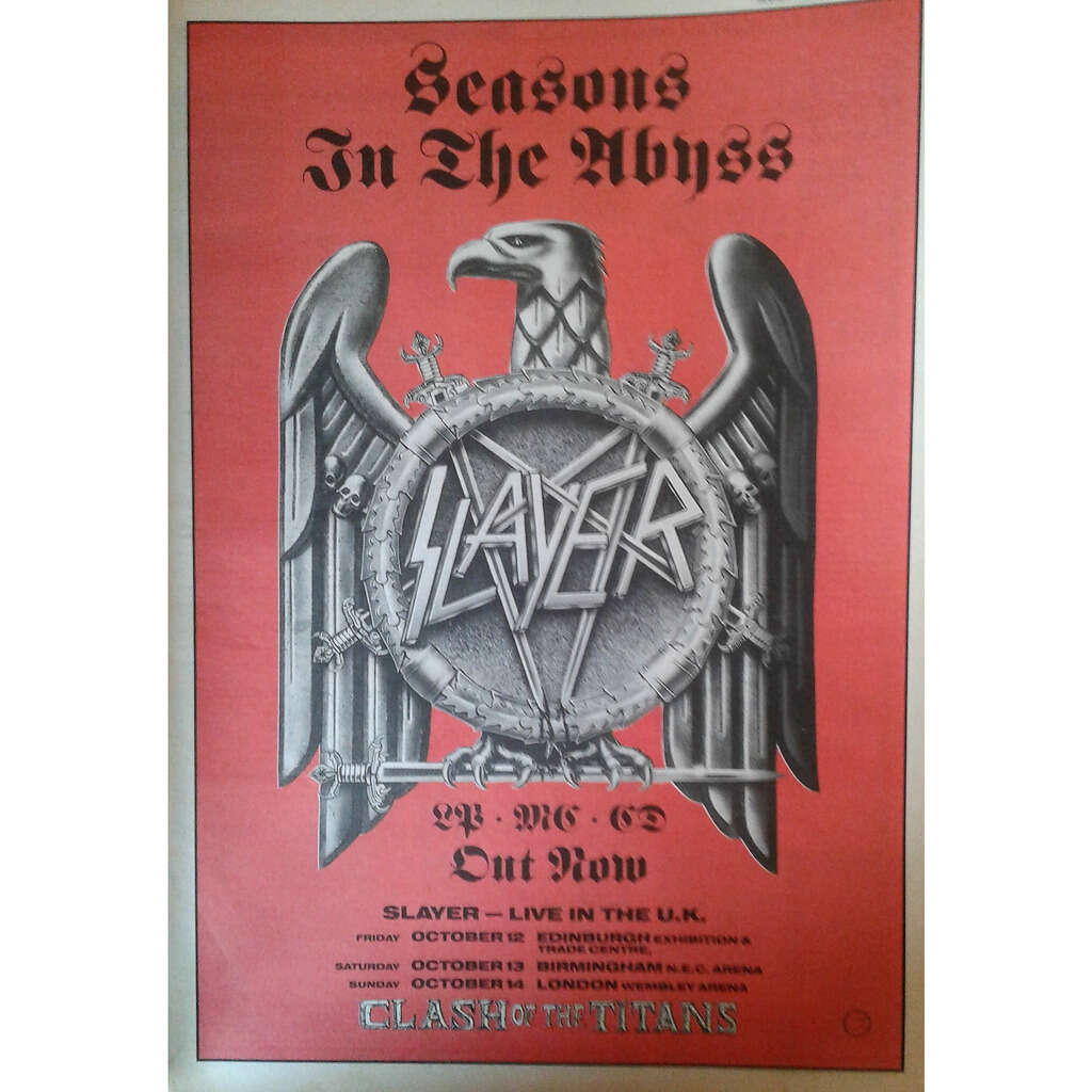 Slayer Live in the UK Tour Oct. 1990 (UK 1990 promo type advert 'Tour Release' Concert poster!)