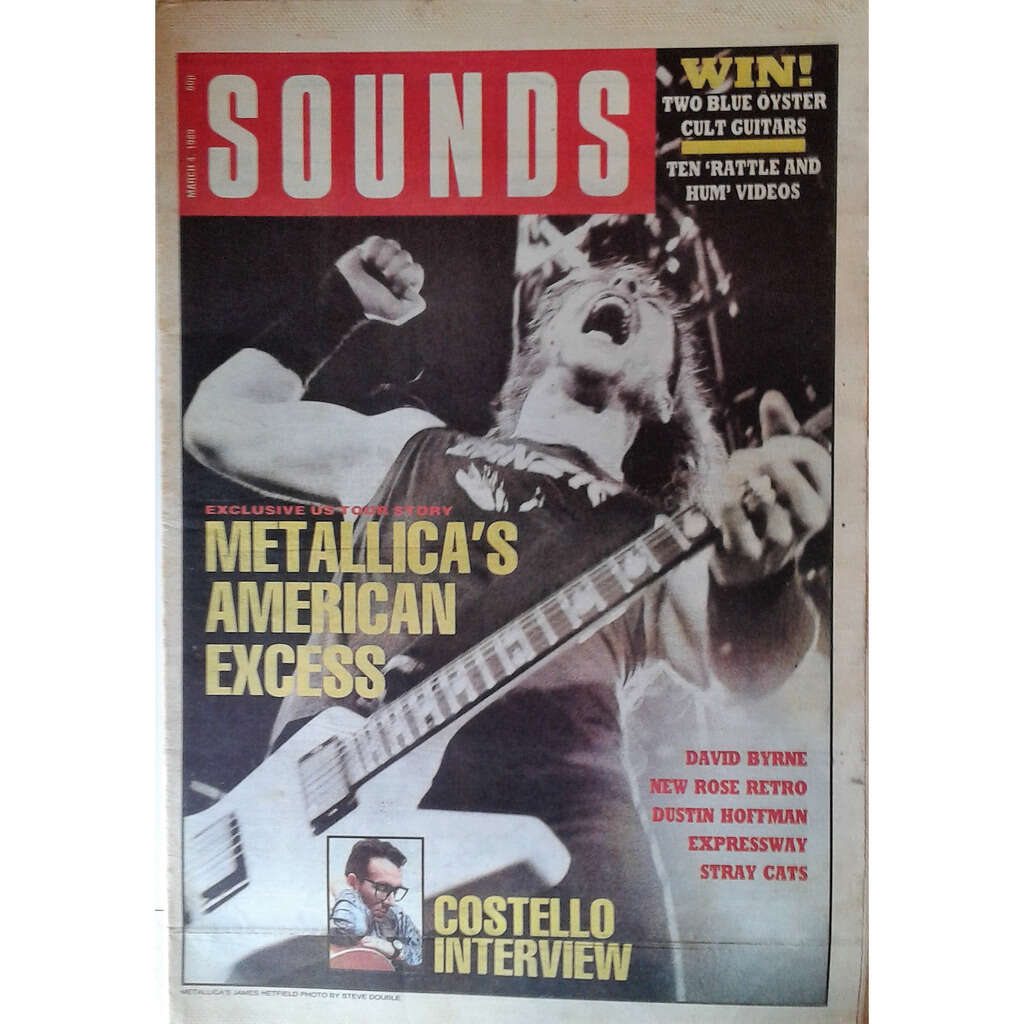 Metallica Sounds (04.03.1989) (UK 1989 large format Metallica front cover music magazine!!)