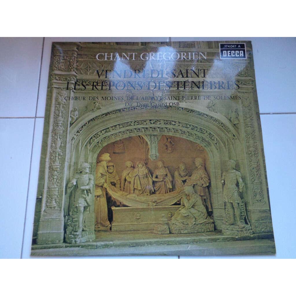 CHOEUR DES MOINES DE L'ABBAYE DE SOLESMES chant gregorien - vendredi saint - les repons des tenebres - ( near mint condition )