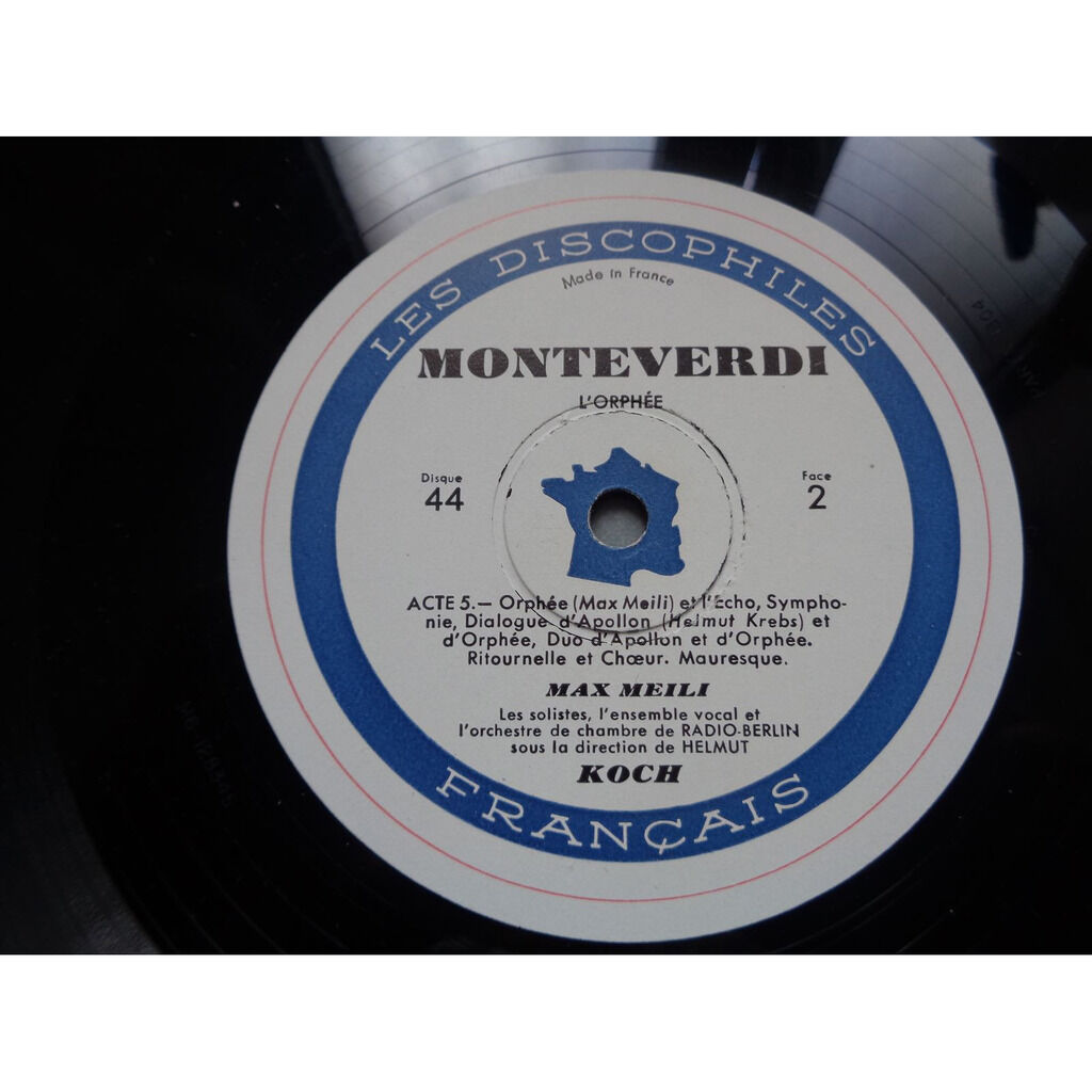 helmut koch / monteverdi / Max Meili l'orfeo de claudio monteverdi kammerorchester berlin - ( rare triple lp 12 gatefold )