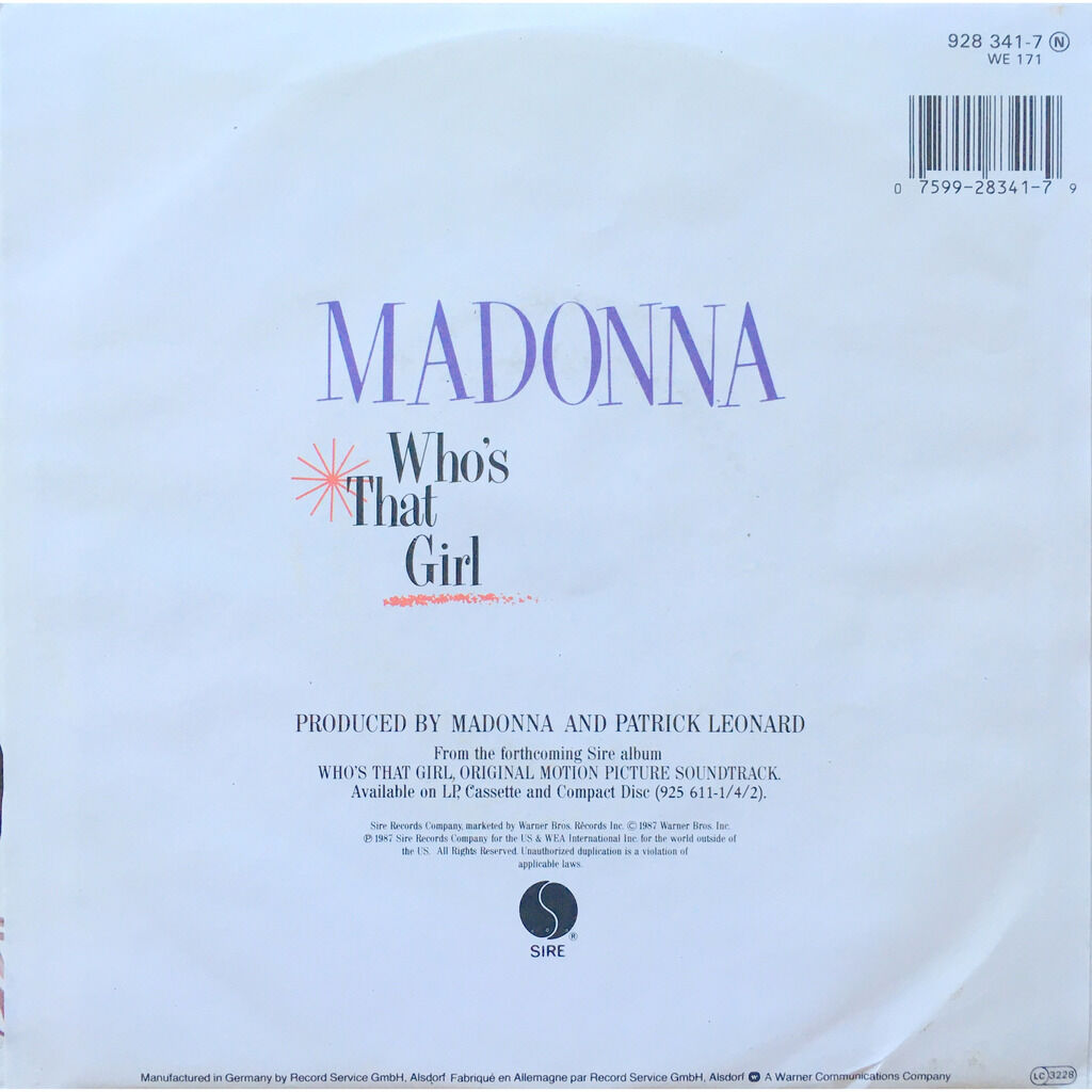MADONNA - WHO'S THAT GIRL (GER. PRESSING 2 TRK VINYL 7 SINGLE)