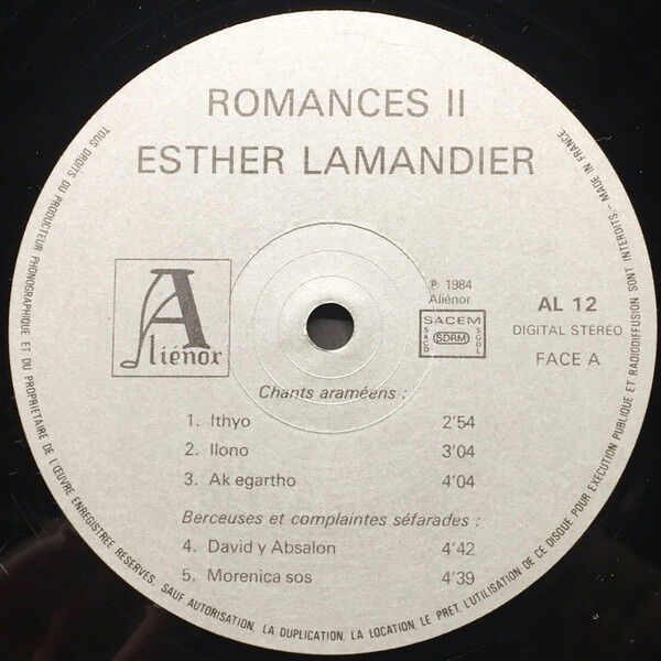 Esther LAMANDIER Romances II et Chants Araméens (original French press - Gatefold sleeve - 1984)