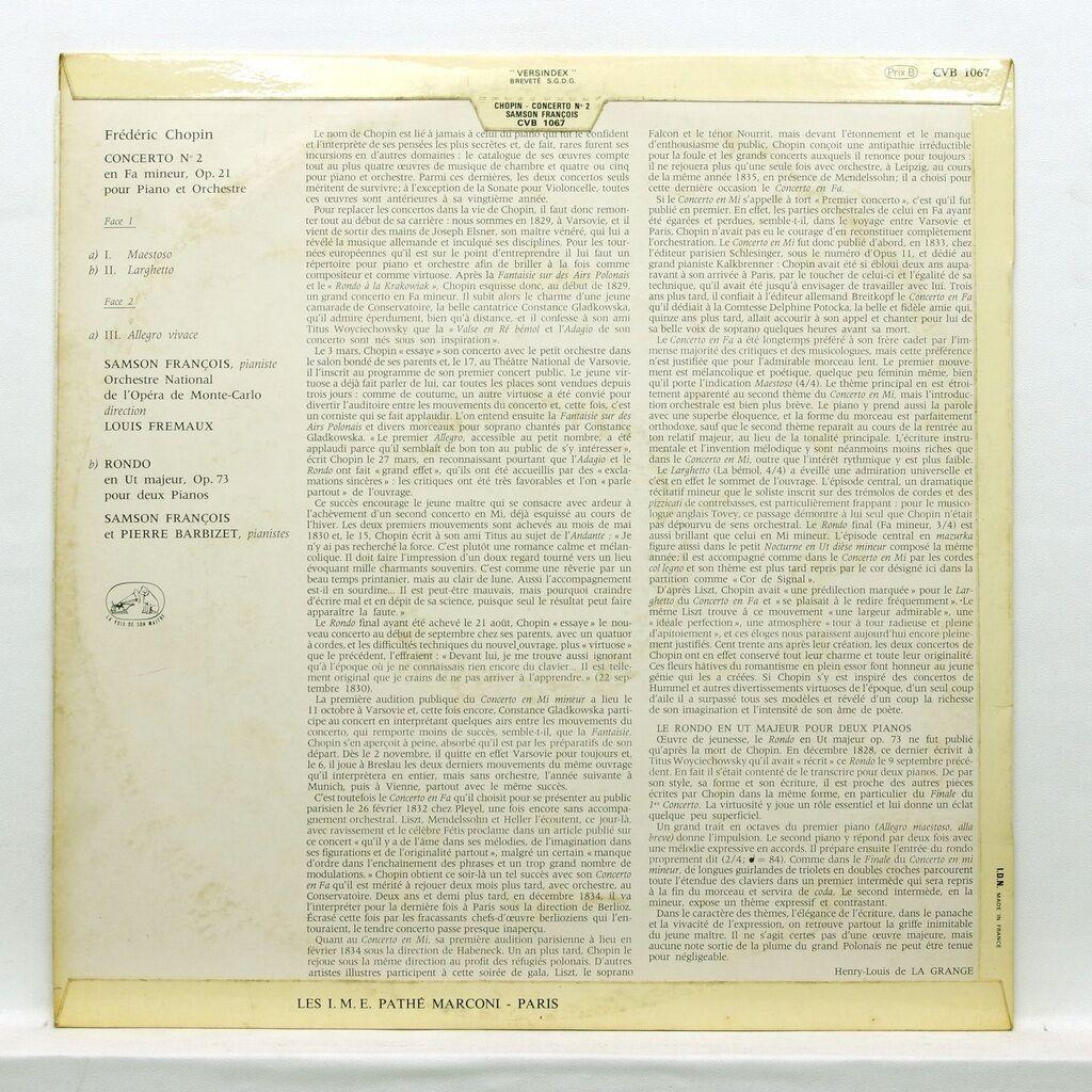 Samson François & Pierre Barbizet chopin : concerto no.2 in f minor, op.21 / rondo in c major op.73 for two pianos