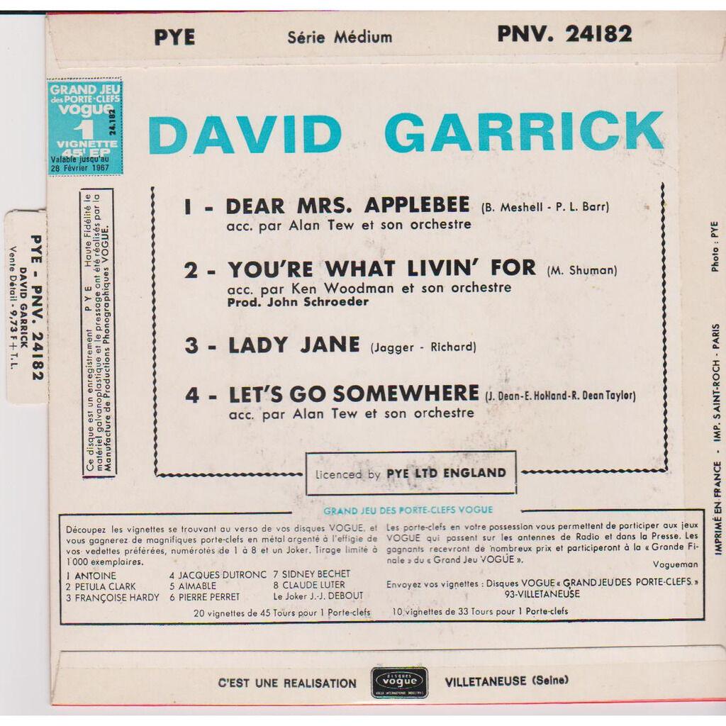 david garrick DEAR MRS APPLEBEE YOU'RE WHAT I'M LIVING FOR LADY JANE LET'S GO SOMEWHERE