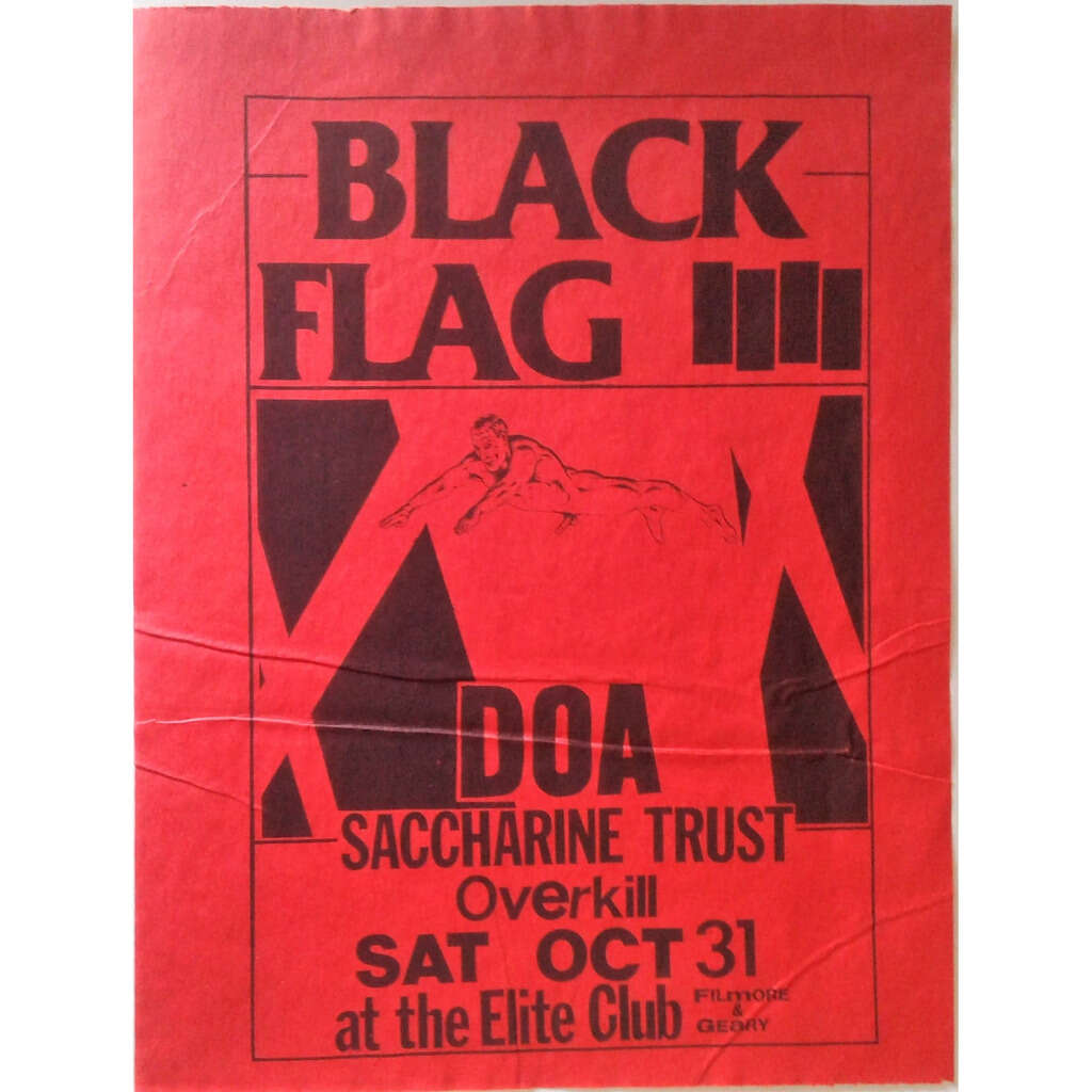 black flag / d.o.a. / saccharine trust / overkill Elite club sat. oct. 31 (usa 80s promo poster concert red punk flyer!!)