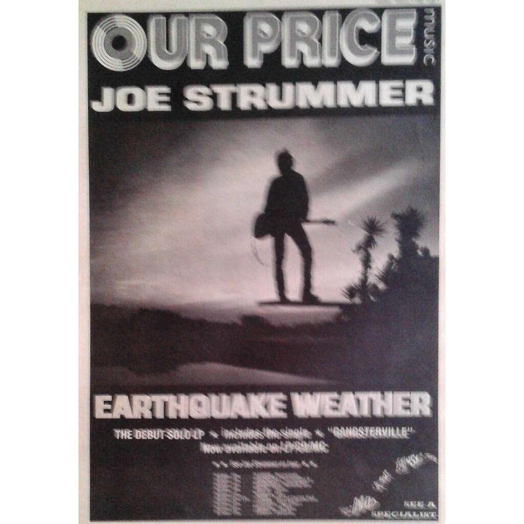 The Clash / Joe Strummer Earthquake Weather UK Tour Oct. 1989 (UK 1989 promo type advert 'Tour dates' Concert poster!)