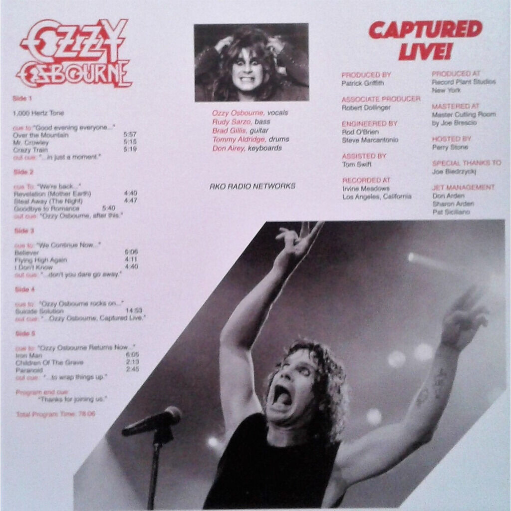 ozzy osbourne Captured Live! (Irvine Meadows LA 1982) (Ltd 250 no'd copies 3LP RED-marble wax box+insert!)