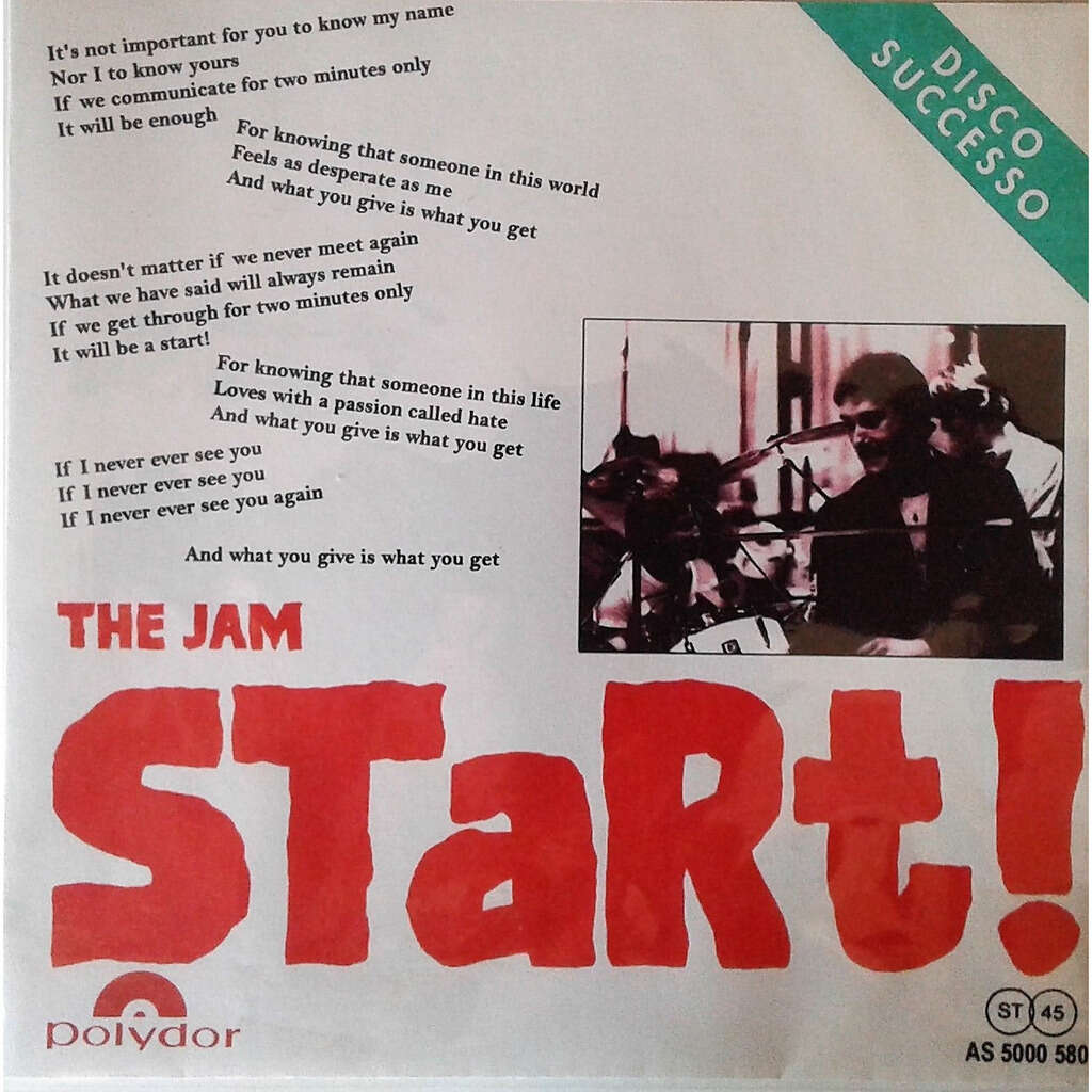 The Jam start! (Italian 1980 DJ radio w/label 7single promo unique 'SPER' network radio promo ps)