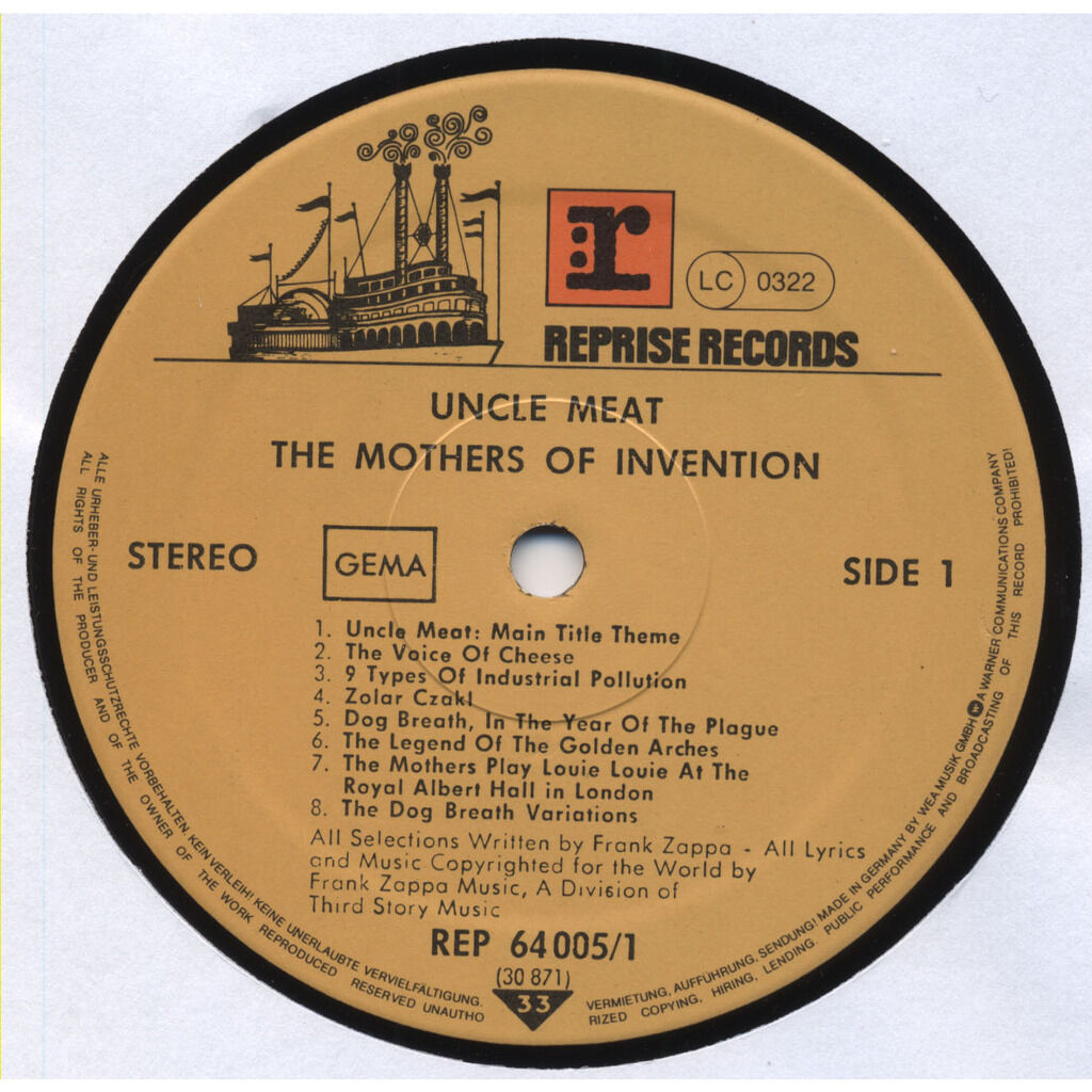 THE MOTHERS OF INVENTION / Frank Zappa Uncle Meat (most of the music from the mother's movie of the same name which we haven't got enough m