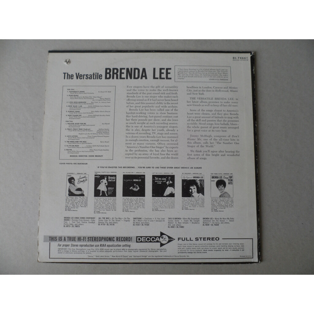 LEE BRENDA THE VERSATILE (STEREO)