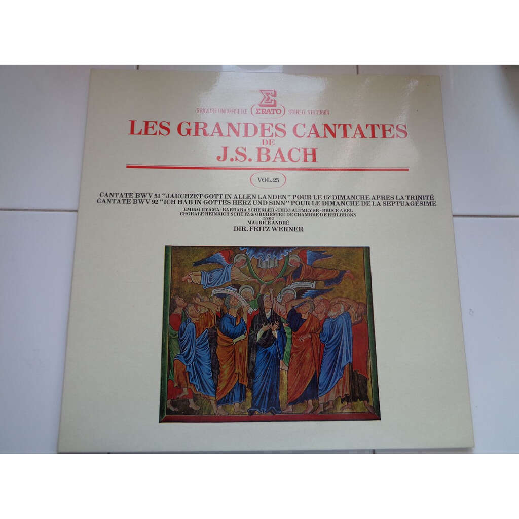 FRITZ WERNER / MAURICE ANDRE J.S. Bach : LES GRANDES CANTATES VOL.25 - cantates n° 51 & 92 - ( stéréo mint condition )