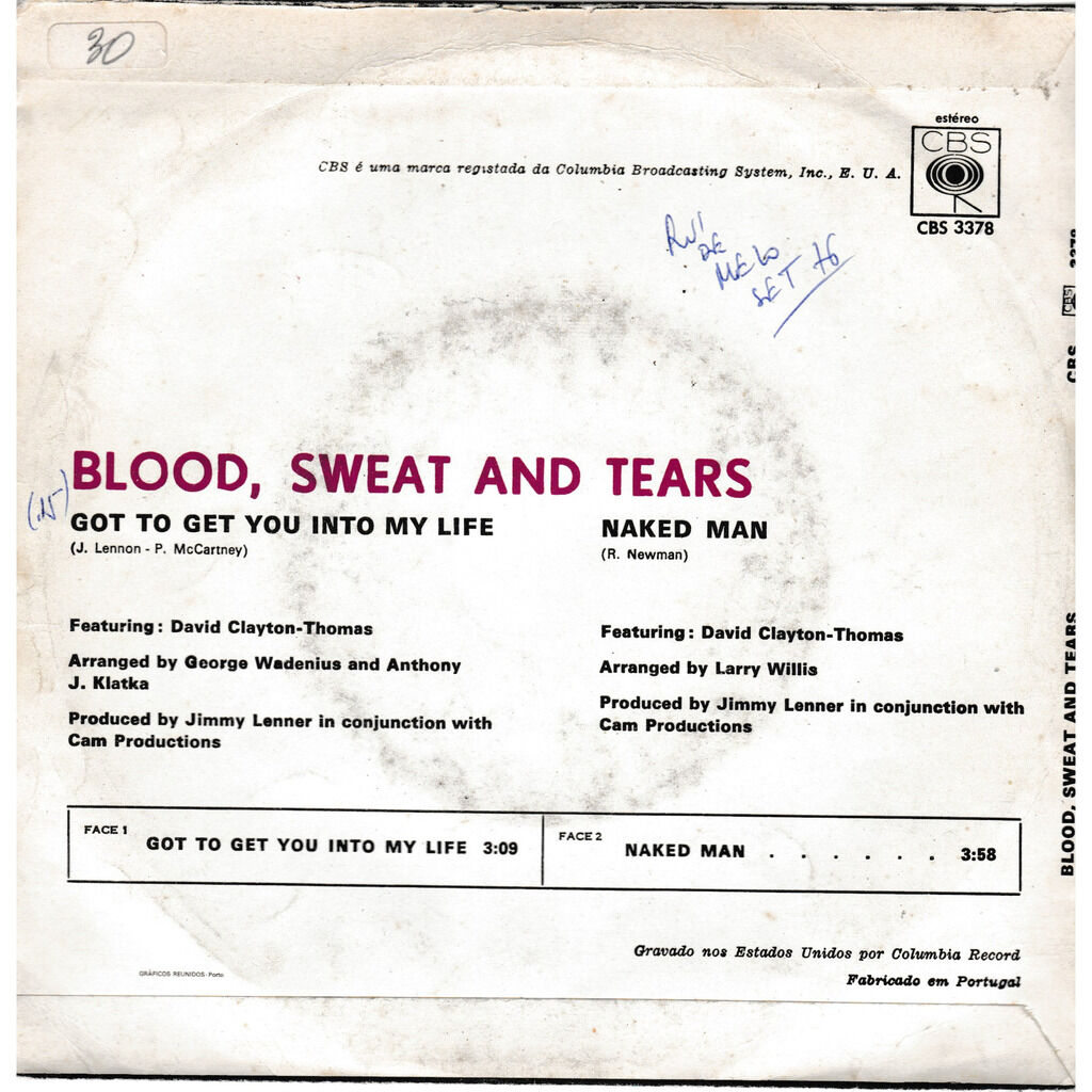 blood sweat & tears GOT TO GET YOU INTO MY LIFE THE NAKED MAN