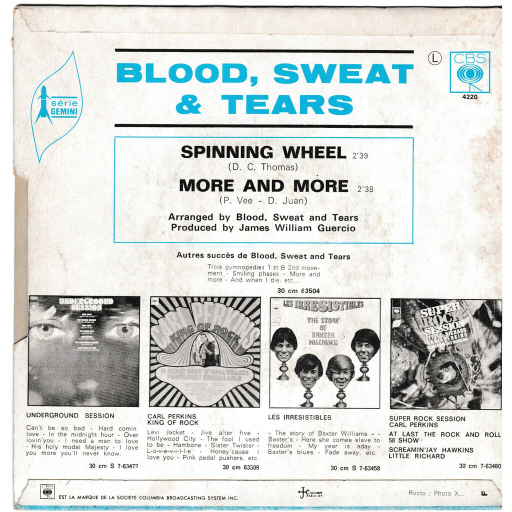 blood sweat & tears SPINNING WHEEL MORE AND MORE