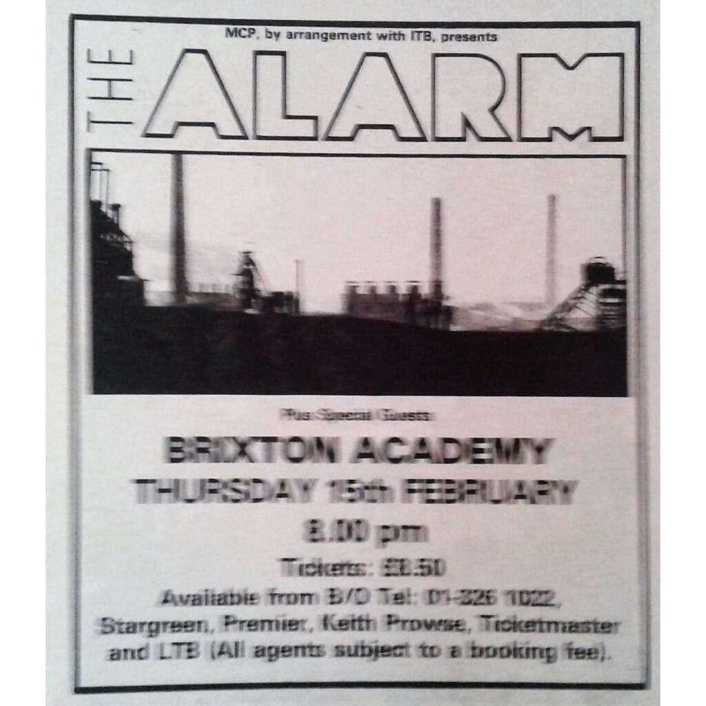 The Alarm Brixton Academy 15.02.1990 (UK 1990 promo type advert concert flyer!)