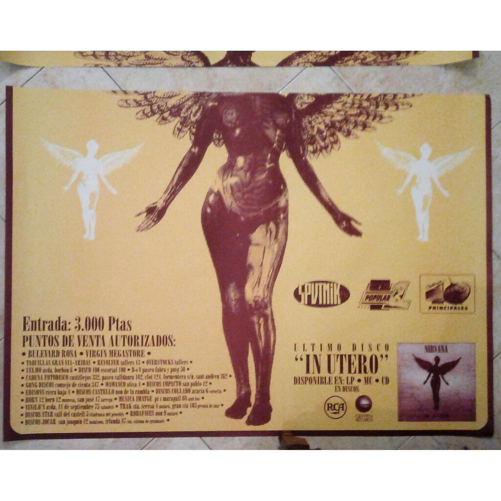 Nirvana Palacio De Los Deportes (Barcelona 09.02.1994) (Spanish 1994 '2 foils' large promo concert poster!)