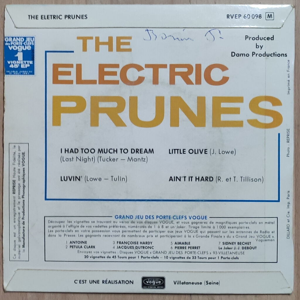 ELECTRIC PRUNES I HAD TOO MUCH TO DREAM / LUVIN/LITTLE OLIVE/AIN'T IT HARD