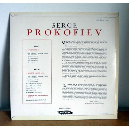 JACQUES DUMONT & LEON PASCAL & ULYSSE DELECLUSE PROKOFIEV Quintette opus 39 & Ouverture op.34