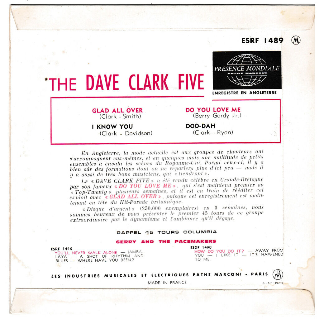 THE DAVE CLARK FIVE GLAD ALL OVER DO YOU LOVE ME I KNOW YOU DOO DAH