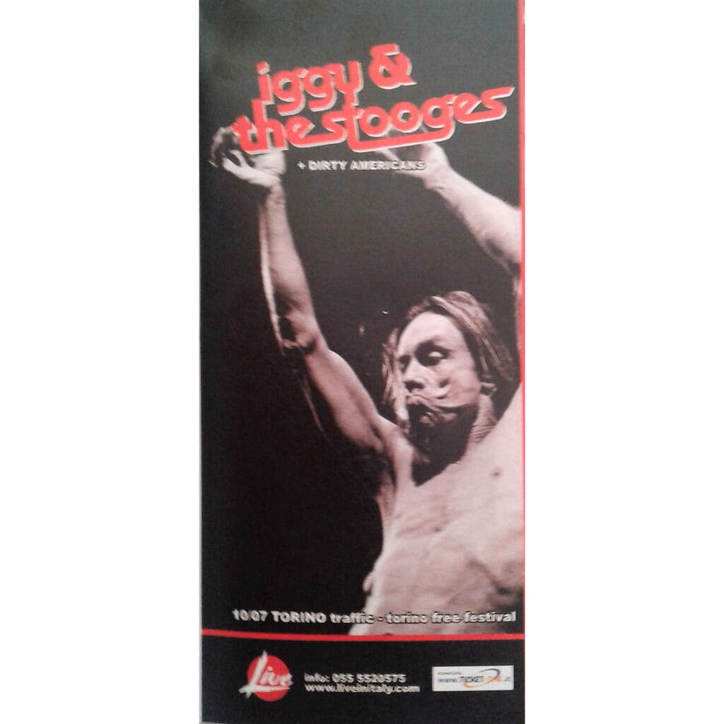 Iggy Pop / The Stooges Torino 10.07.2004 (Italian 2004 promo type advert concert flyer!)
