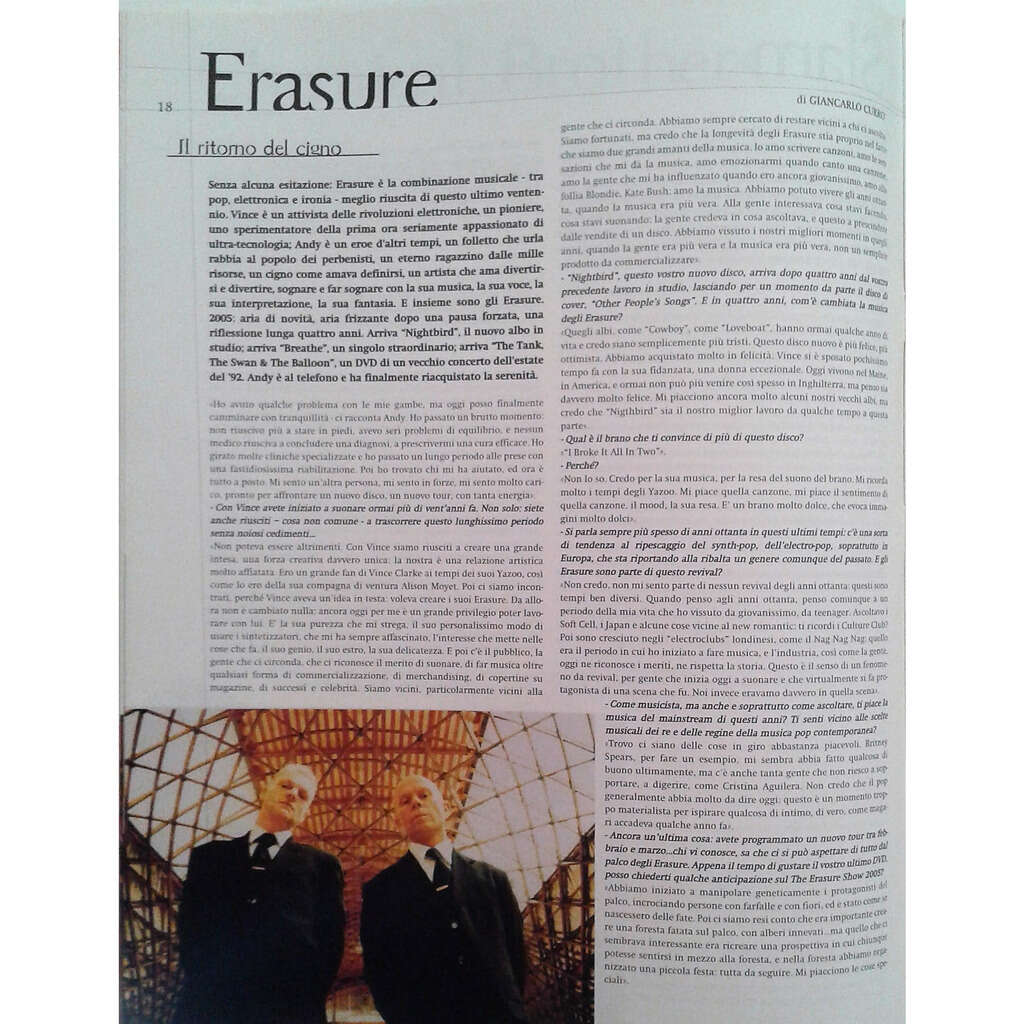 Erasure Rockerilla (N.293 Jan. 2005) (Italian 2005 music magazine!!)