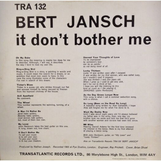 Bert Jansch it don't bother me