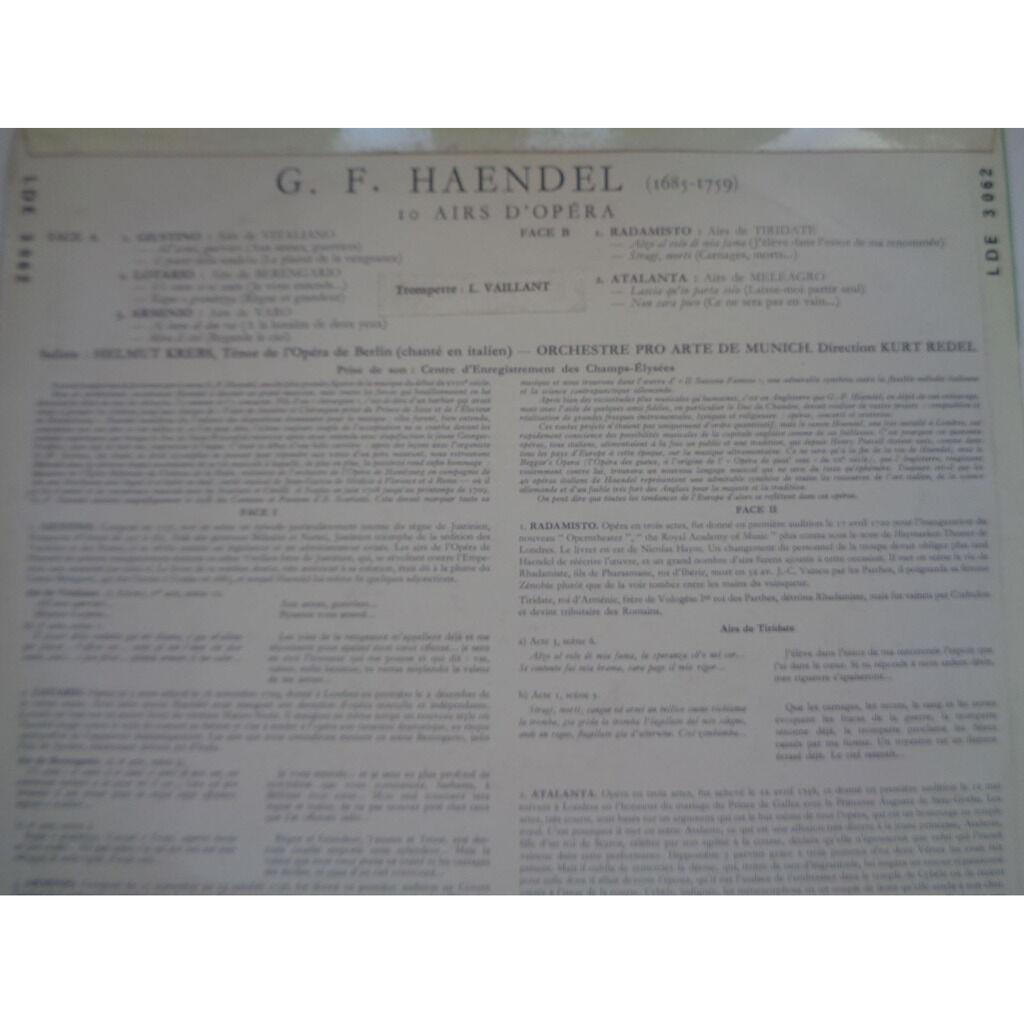 HELMUT KREBS - KURT REDEL - PRO ARTE MUNICH G.F. Haendel - Airs d'opéra - ( rare mono near mint condition )