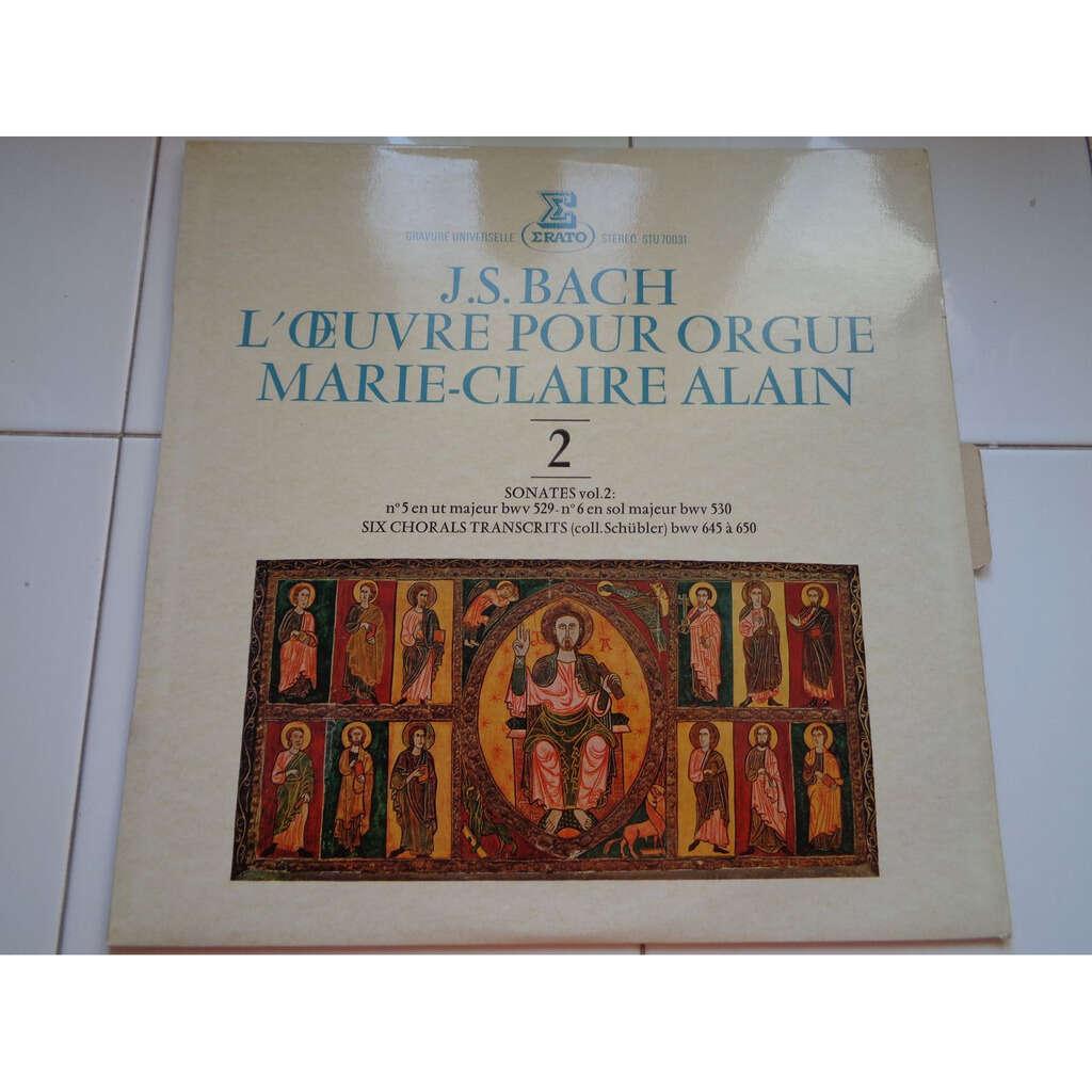 MARIE CLAIRE ALAIN L'OEUVRE POUR ORGUE DE J.S BACH - SONATES VOL 2 - ( stéréo near mint )