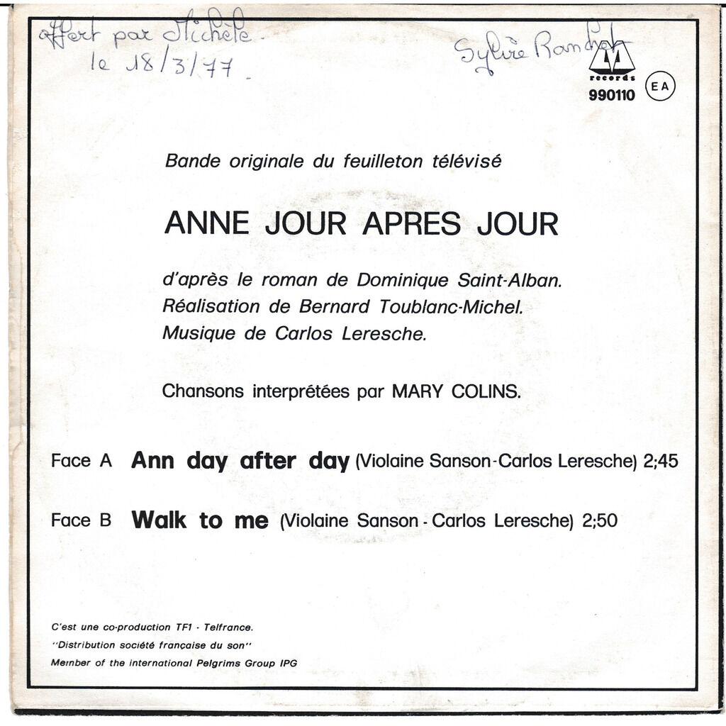 mary collins ANNE JOUR APRèS JOUR/ WALK TO ME