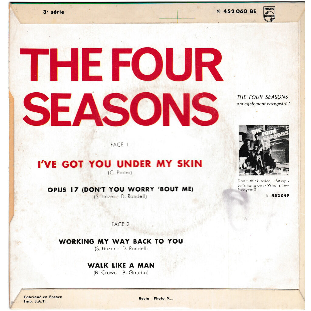 frankie valli and the four seasons I'VE GOT YOU UNDER MYS SKIN OPUS 7 WORKING MY WAY BACK TO YOU WALK LIKE A MAN