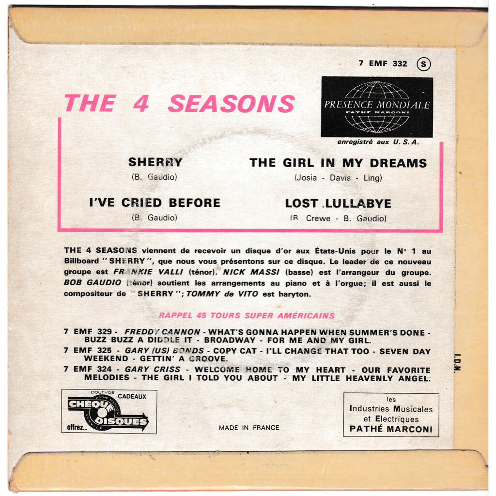 frankie valli and the four seasons SHERRY I'VE CREID BEFORE THE GIRL IN MY DREAMS LOST LULLABYE