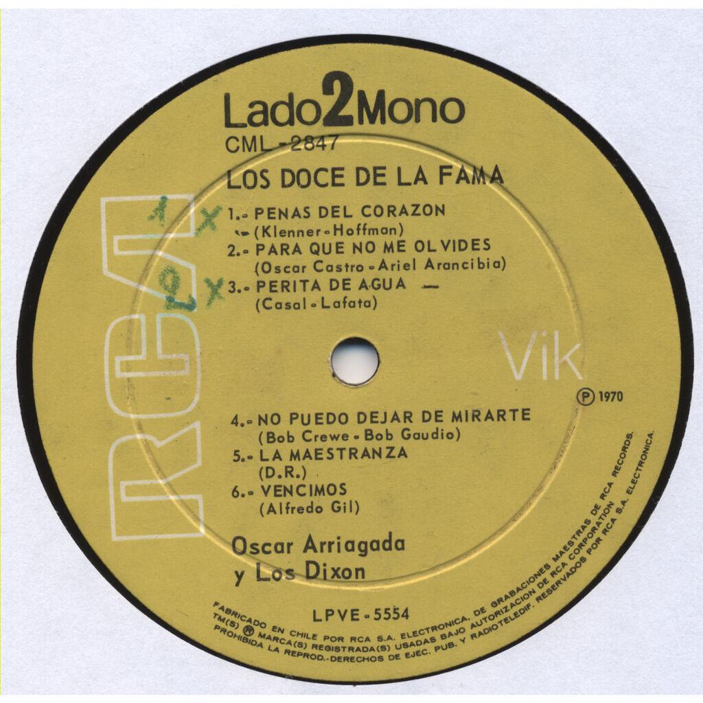 OSCAR ARRIAGADA y Los Dixon LOS DOCE DE LA FAMA (the 12 of fame) instrumentals - Hey Jude (Beatles), Venus