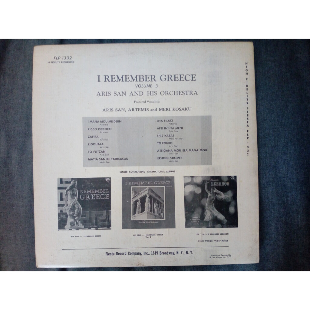 Aris San And His Orchestra I Remember Greece Volume 3