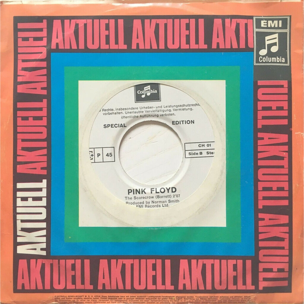 PINK FLOYD - SEE EMILY PLAY (RARE SWISS PRESSING 2 TRK VINYL 7 SINGLE WHITE LABEL DEMO COPIE COMP. W/COMPANY COVER)