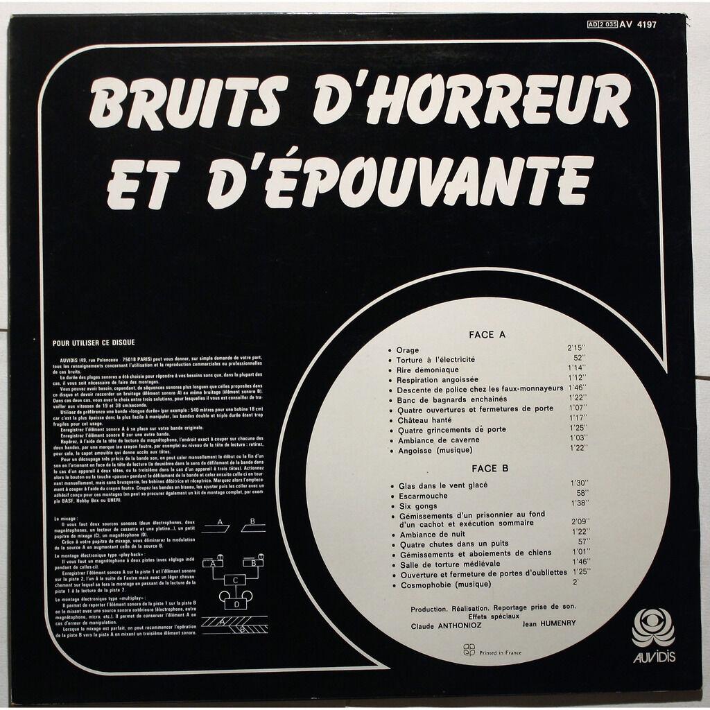 Claude Anthonioz, Jean Humenry Bruits D'Horreur Et D'Épouvante