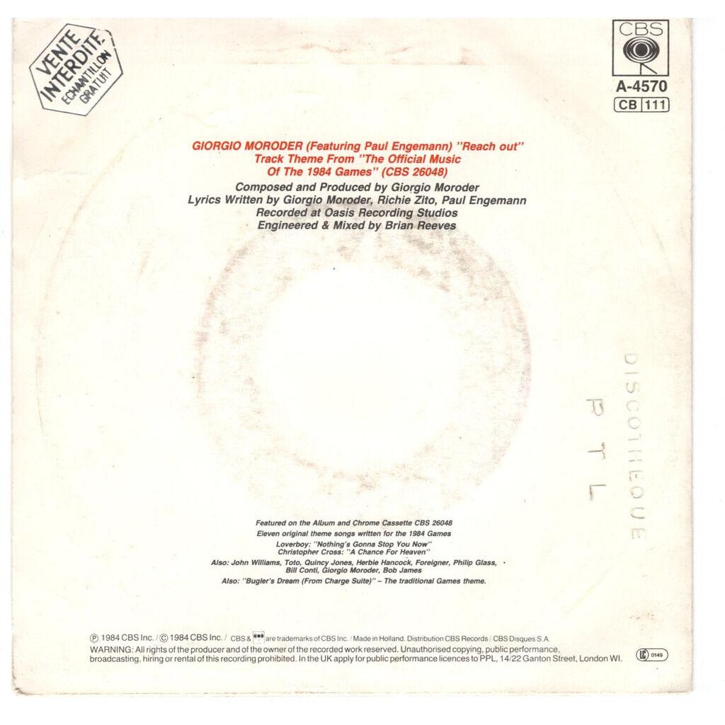 Giorgio Moroder Reach Out - Sunrise label