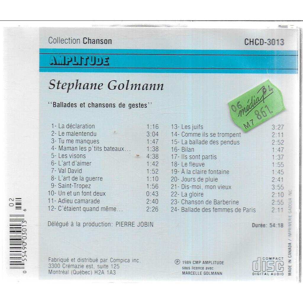 Stéphane GOLMANN Ballades et Chansons de Gestes, 2