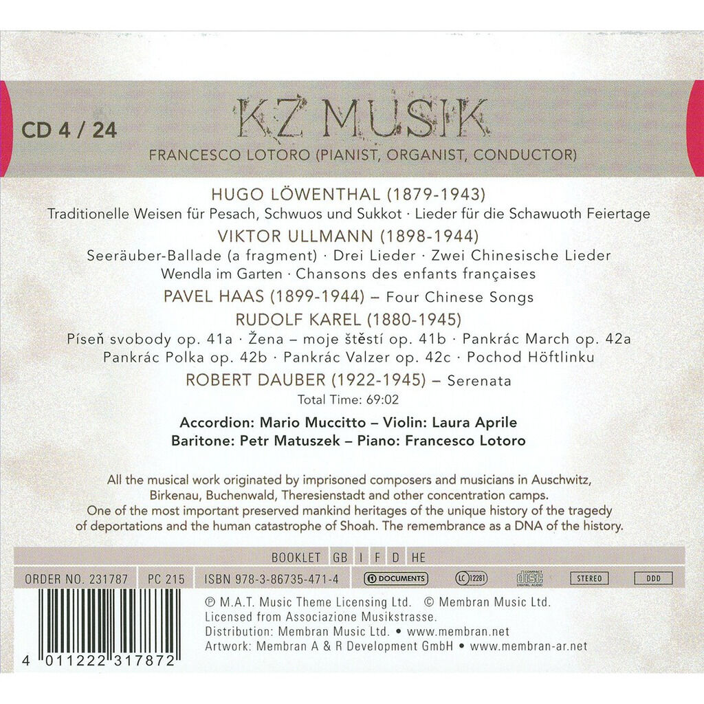 Löwenthal / Ullmann / Haas / Karel / Dauber KZ Musik CD 4 - Encyclopedia of Music composed in Concentration Camps (1933-1945)