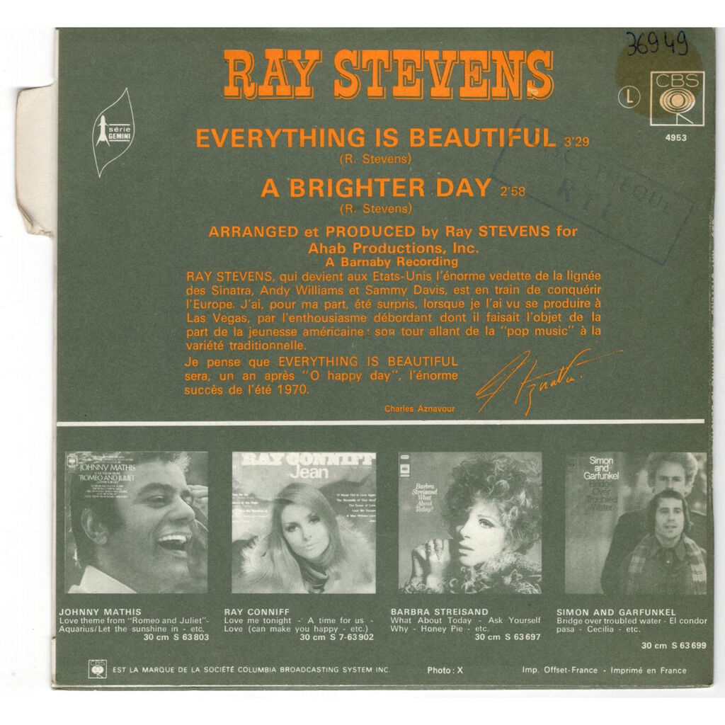 Ray Stevens Everything is beautiful - avec languette - with tag